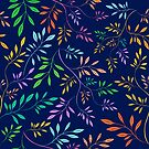 Colorful Abstract Leafs Navy Blue Background by artonwear