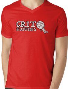 D&D: Crit Happens - White Text Mens V-Neck T-Shirt