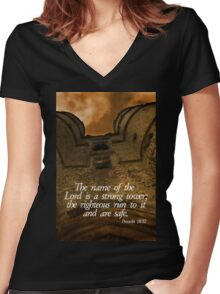 Strong Tower Women's Fitted V-Neck T-Shirt