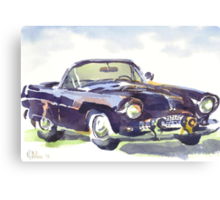 1955 Ford Thunderbird in Watercolor Canvas Print
