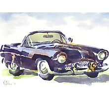 1955 Ford Thunderbird in Watercolor Photographic Print