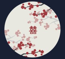 Chinese Wedding Double Happiness Symbol And Red Cherry Blossoms Sakura On Ivory Kids Clothes