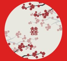 Chinese Wedding Double Happiness Symbol And Red Sakura Cherry Blossoms On Ivory by fatfatin