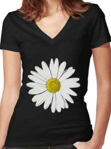 Large Daisy Summer Fashion Women's Fitted V-Neck T-Shirt