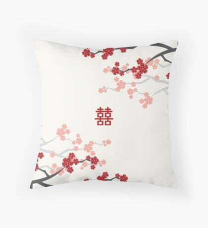 Chinese Wedding Double Happiness Symbol And Red Cherry Blossoms Sakura On Ivory Throw Pillow