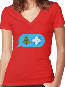 Blowing Trees Women's Fitted V-Neck T-Shirt