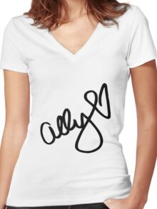 Ally Brooke signature - Black text ( New ) Women's Fitted V-Neck T-Shirt