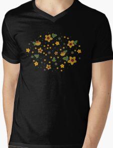 Woodland Yellow Flowers - Blue Mens V-Neck T-Shirt