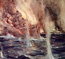 'The Sinking of the Gneisenau' by Bridgeman Art Library