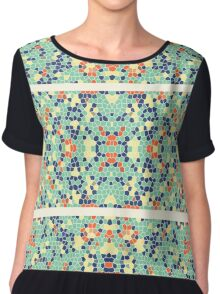 Colorful Blue Green Orange Abstract Funky Mosaic Chiffon Top