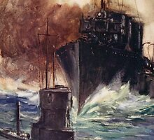 'HMS Badger ramming a German submarine' by Bridgeman Art Library