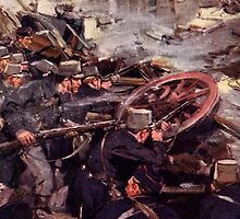 'How the Brave Belgians Held up the German Advance' by Bridgeman Art Library