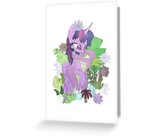 Twilight, Spike and Succulents Greeting Card