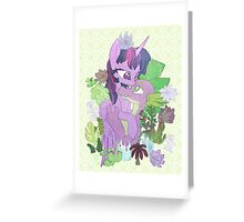 Twilight, Spike and Succulents (+ Background) Greeting Card