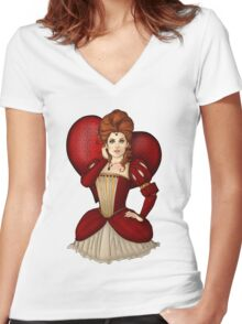 Queen of Hearts Women's Fitted V-Neck T-Shirt