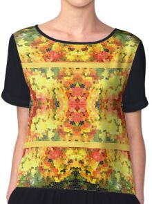 Abstract Stained Glass Colorful Autumn Fall Mosaic Chiffon Top