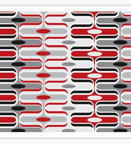 Retro Mod Ogee Red & Black Abstract Pod Pattern Sticker