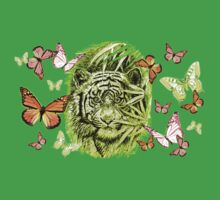 Tiger and Butterflies One Piece - Short Sleeve