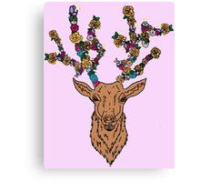 deer / stag with flower antlers Canvas Print