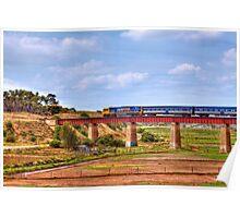 Train Crossing the Railway Viaduct at Murray Bridge, South Australia Poster