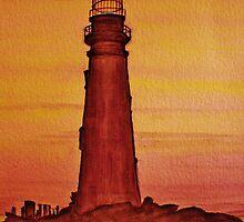 Lighthouse at Dusk by JoAnn Glennie