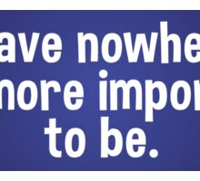 You Have Nowhere More Important To be. - bumper sticker Sticker