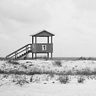Life Guard Station- Black and White by Jeri Stunkard