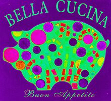 Purple Mosaic Pig - Buon Appetito by WonderMeMosaics