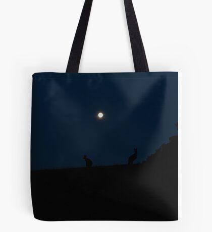 Silhouette of Kangaroos with Full Moon Tote Bag