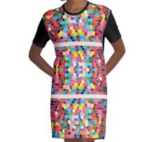 Abstract Stained Glass Vivid Rainbow Candy Mosaic Graphic T-Shirt Dress