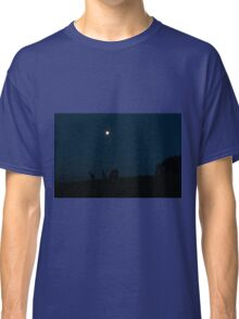 Kangaroos Silhouette with Full Moon in the Background Classic T-Shirt
