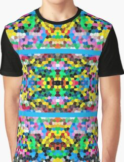 Abstract Stained Glass Colorful Blue Yellow Pink Mosaic Graphic T-Shirt