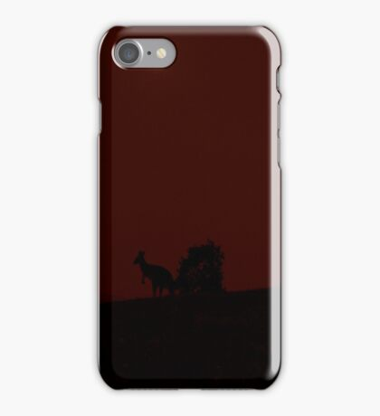 Kangaroos Silhouette with Full Moon in the Background iPhone Case/Skin