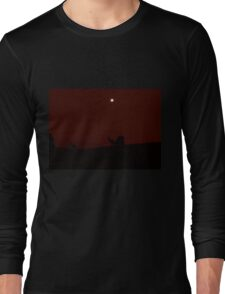 Kangaroos Silhouette with Full Moon in the Background Long Sleeve T-Shirt