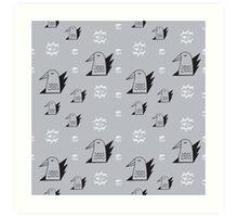 Birds and eyes seamless pattern Art Print