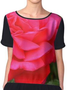 Pink rose close up and green leaves. Chiffon Top