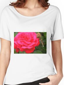 Pink rose close up and green leaves. Women's Relaxed Fit T-Shirt