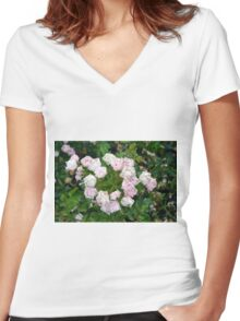 Small pale pink flowers and green leaves. Women's Fitted V-Neck T-Shirt