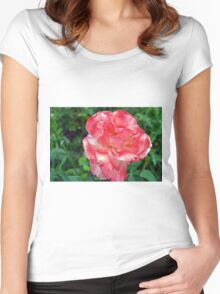Macro on beautiful pink flower in the garden. Women's Fitted Scoop T-Shirt