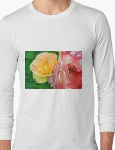 Yellow and pink flowers background. Long Sleeve T-Shirt
