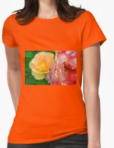 Yellow and pink flowers background. Womens Fitted T-Shirt