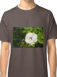 White rose and green leaves pattern. Classic T-Shirt