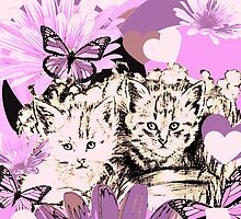 Frieda's Baby Cats in Pink by GittaG74