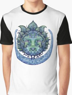 Blue Spiritual Sun and Moon Graphic T-Shirt