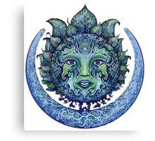 Blue Spiritual Sun and Moon Canvas Print