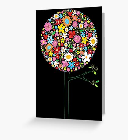 Whimsical Colorful Spring Flowers Pop Tree II Greeting Card
