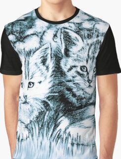 Baby Cats in Light Blue Graphic T-Shirt