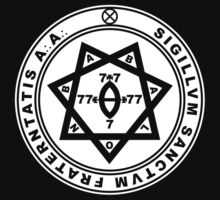 Aleister Crowley Seal - Occult - Thelema (White On Black) by James Ferguson - Darkinc1