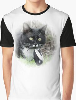 Black cat catching computer mouse Graphic T-Shirt