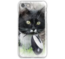 Black cat catching computer mouse iPhone Case/Skin